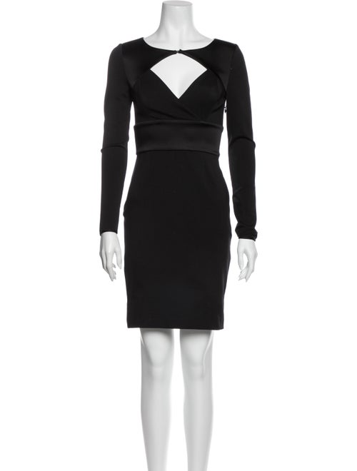 Halston Heritage Scoop Neck Mini Dress Black