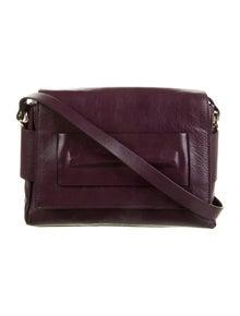 Halston Heritage Smooth Leather Flap Shoulder Bag