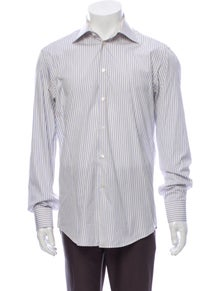 Halston Heritage Striped Long Sleeve Dress Shirt