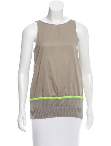 Hache Rib Knit-Trimmed Sleeveless Top w/ Tags None