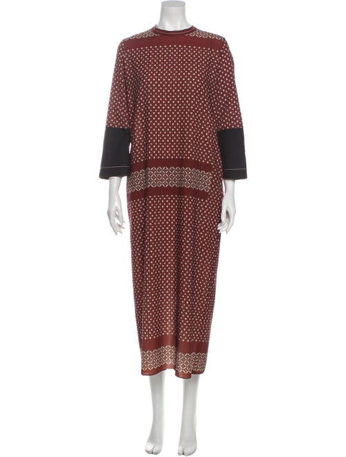 Hache Printed Long Dress Brown