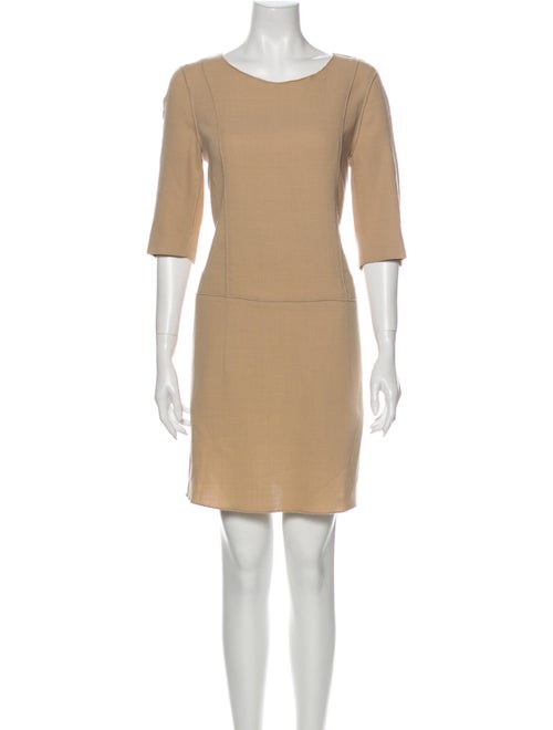 Hache Scoop Neck Mini Dress Brown