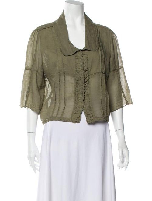 Hache Three-Quarter Sleeve Blouse Green