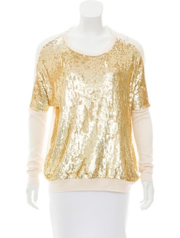 Haute Hippie Sequin-Embellished Rib Knit Sweater w/ Tags None