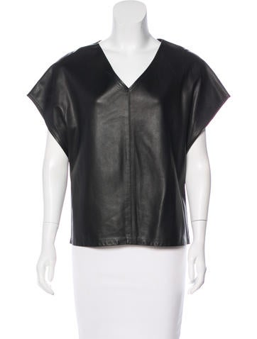 Haute Hippie Leather Short Sleeve Top None