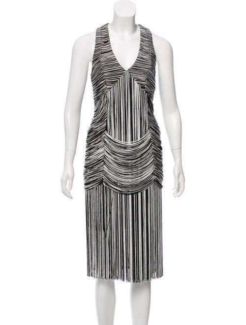 Haute Hippie Fringed Sleeveless Dress Black