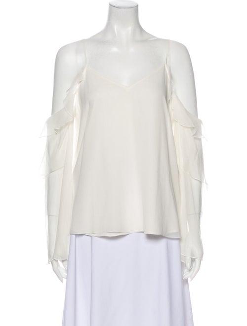 Haute Hippie Silk V-Neck Blouse White