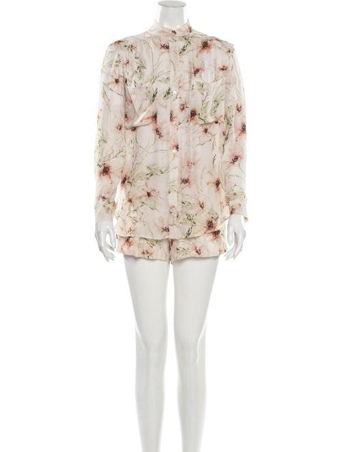 Haute Hippie Silk Floral Print Short Set Pink