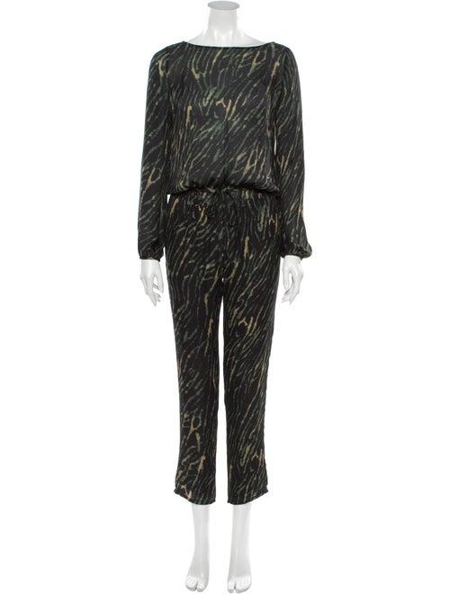 Haute Hippie Silk Animal Print Jumpsuit Black