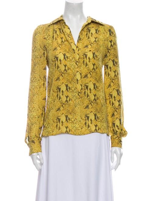 Haute Hippie Silk Animal Print Blouse Yellow