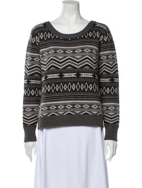 Haute Hippie Merino Wool Printed Sweater Wool