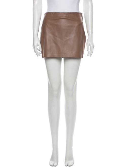 Haute Hippie Leather Mini Skirt Brown