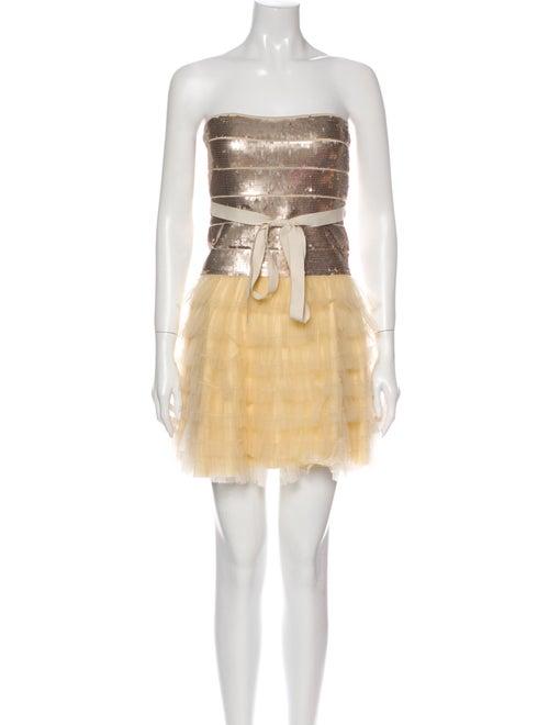 Haute Hippie Colorblock Pattern Mini Dress Metalli