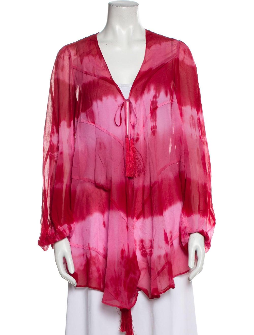 Haute Hippie Silk Tie-Dye Print Sweater Red - image 1