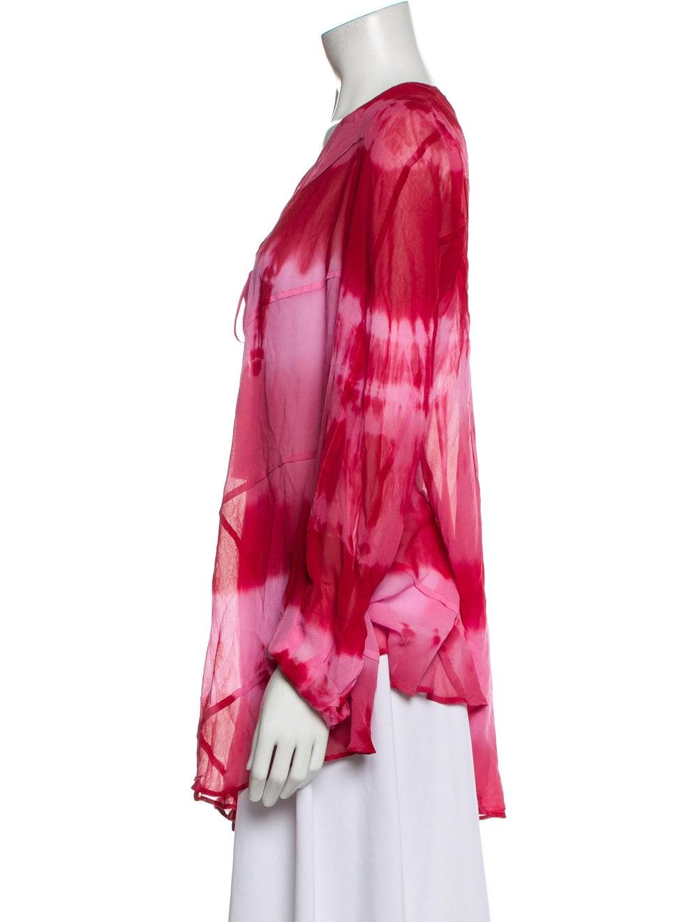 Haute Hippie Silk Tie-Dye Print Sweater Red - image 2