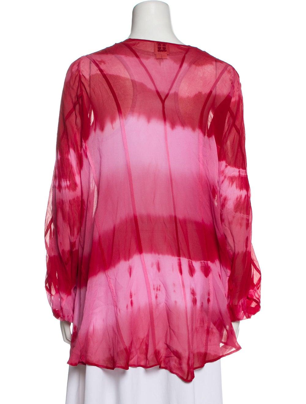 Haute Hippie Silk Tie-Dye Print Sweater Red - image 3