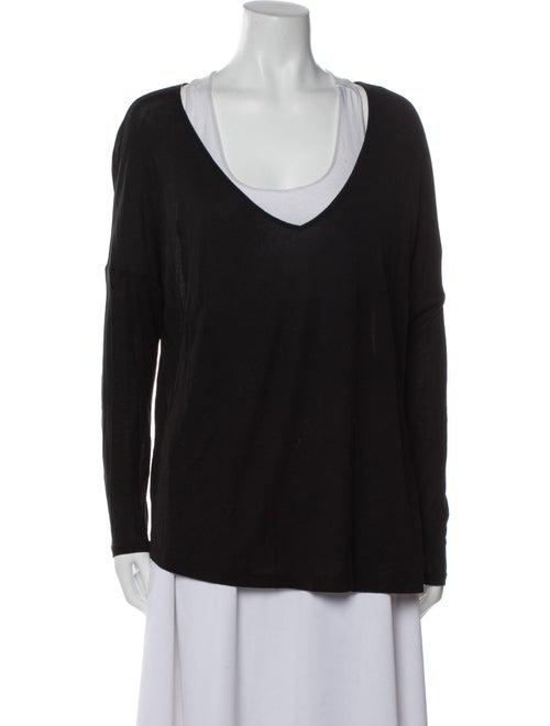 Haute Hippie V-Neck Long Sleeve T-Shirt Black - image 1