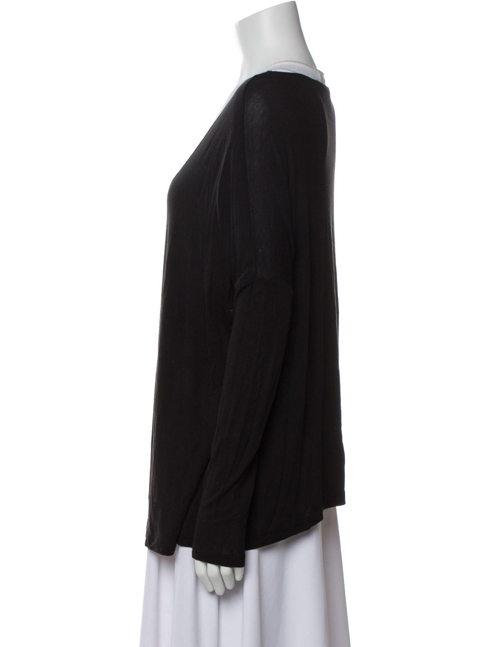 Haute Hippie V-Neck Long Sleeve T-Shirt Black - image 2