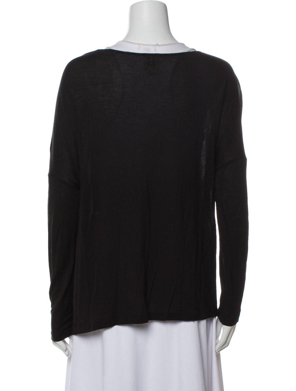 Haute Hippie V-Neck Long Sleeve T-Shirt Black - image 3