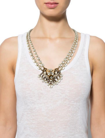 Faux Pearl and Crystal Multistrand Necklace