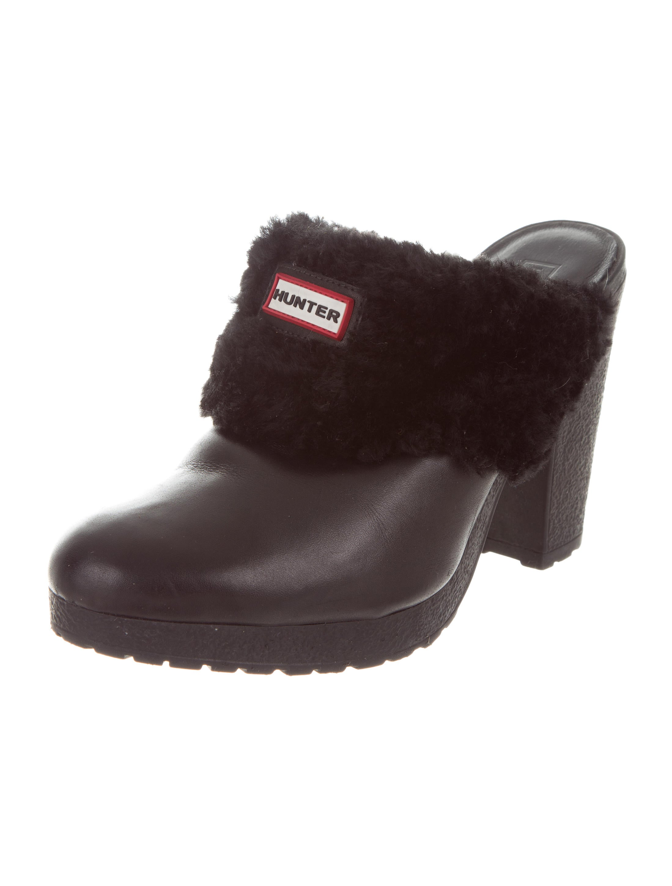 shipping discount sale buy cheap fashion Style Hunter Shearling-Trimmed Leather Mules buy cheap largest supplier AkpEt34e6