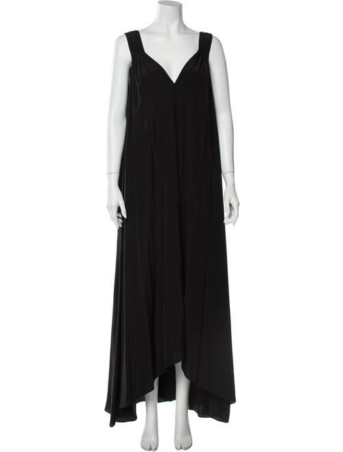 Hatch Silk Long Dress Black