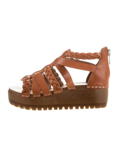 Swedish Hasbeens Woven Wedge Sandals Brown