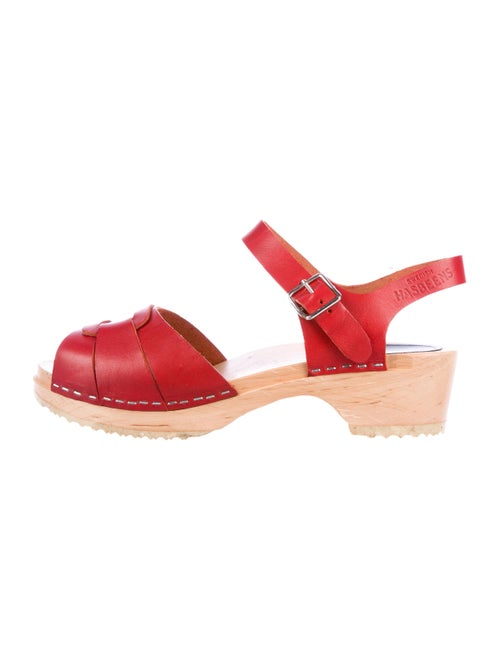 Swedish Hasbeens Leather Ankle-Strap Sandals Red