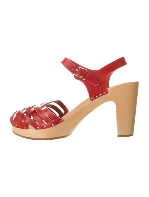 Swedish Hasbeens Woven Platform Sandals Red