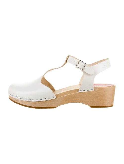 Swedish Hasbeens Leather T-Strap Pumps White