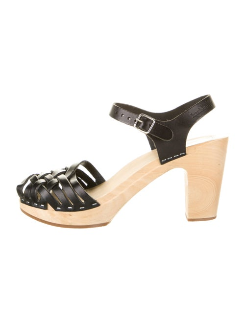 Swedish Hasbeens Woven Leather Sandals Black