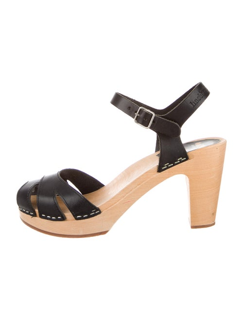 Swedish Hasbeens Leather Sandals Black
