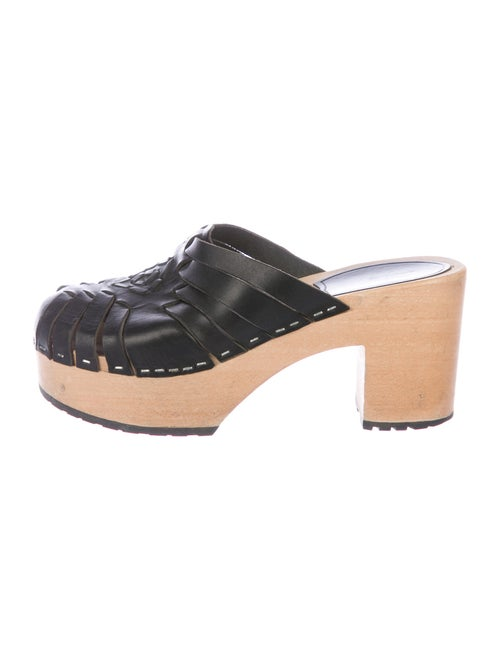 Swedish Hasbeens Leather Mules Black