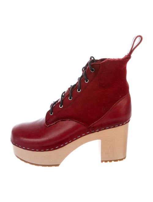 Swedish Hasbeens Suede Lace-Up Boots Red