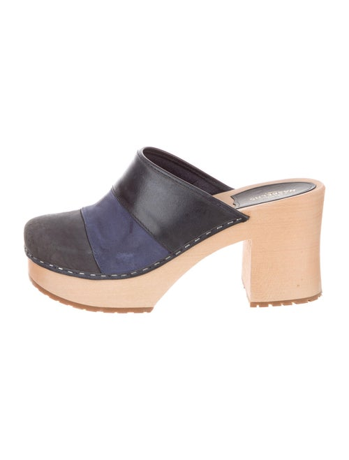 Swedish Hasbeens Suede Colorblock Pattern Mules Bl