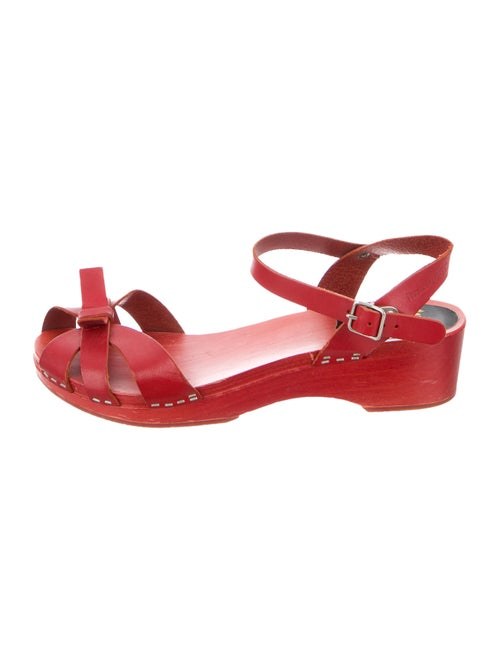 Swedish Hasbeens Leather Sandals Red
