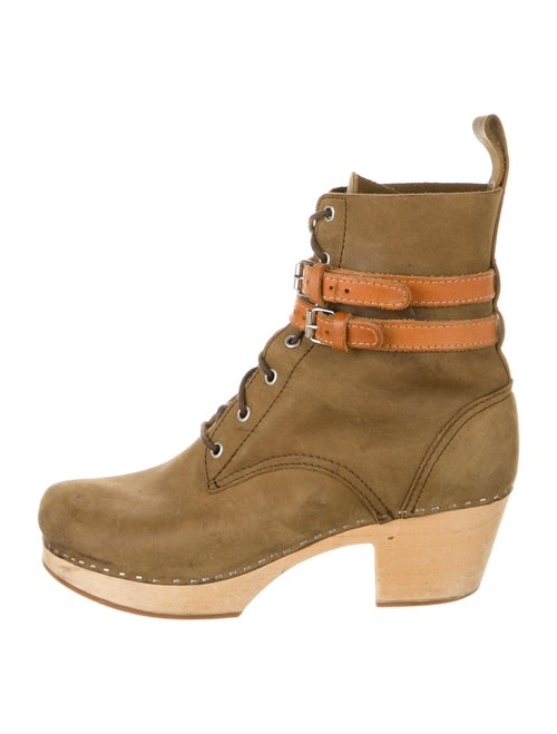 Swedish Hasbeens Leather Lace-Up Boots Brown