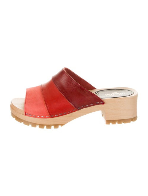 Swedish Hasbeens Leather Colorblock Pattern Slides