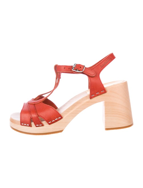 Swedish Hasbeens Leather T-Strap Sandals Red