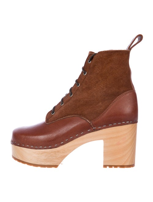 Swedish Hasbeens Web Accent Leather Lace-Up Boots