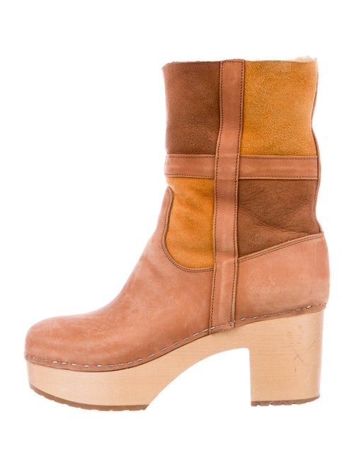 Swedish Hasbeens Suede Colorblock Pattern Boots Pi