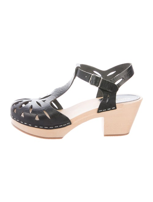 Swedish Hasbeens Leather T-Strap Pumps Black