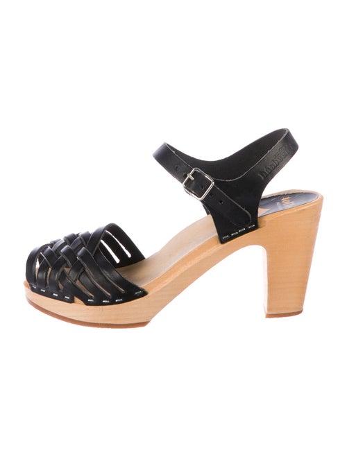 Swedish Hasbeens Leather Slingback Sandals Black