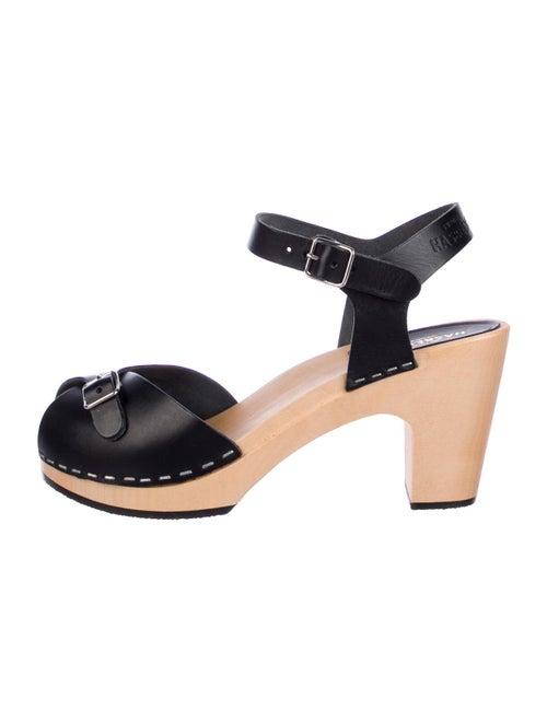 Swedish Hasbeens Pia Leather Slingback Sandals Bla