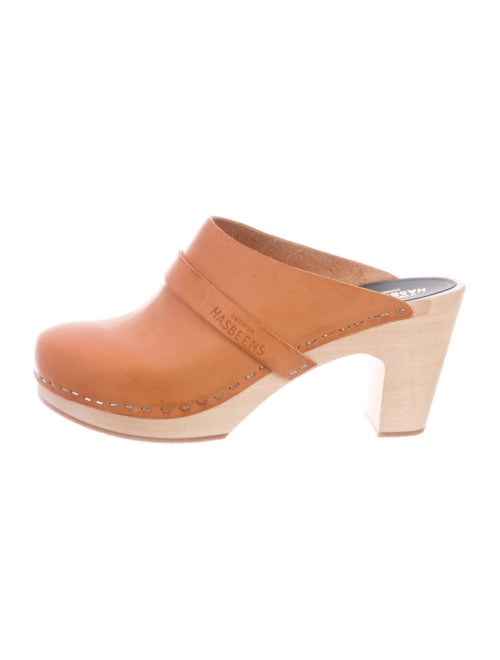 Swedish Hasbeens Leather Mules Brown