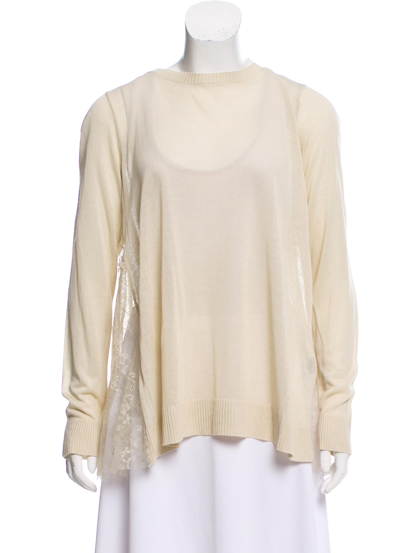 Hôtel Particulier Lace-Accented Scoop Neck Sweater w  Tags ... 6e4e7a2fd45