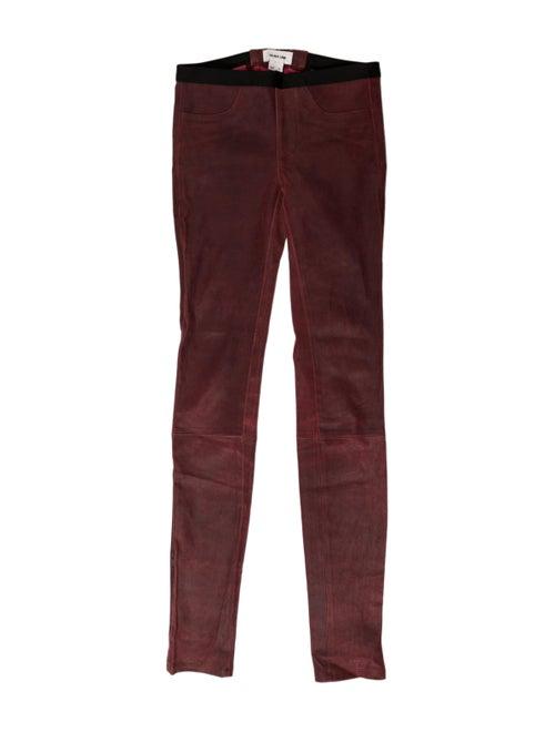 Helmut Lang Leather Skinny Leg Pants Red