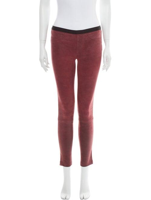 Helmut Lang Lamb Leather Skinny Leg Pants Red