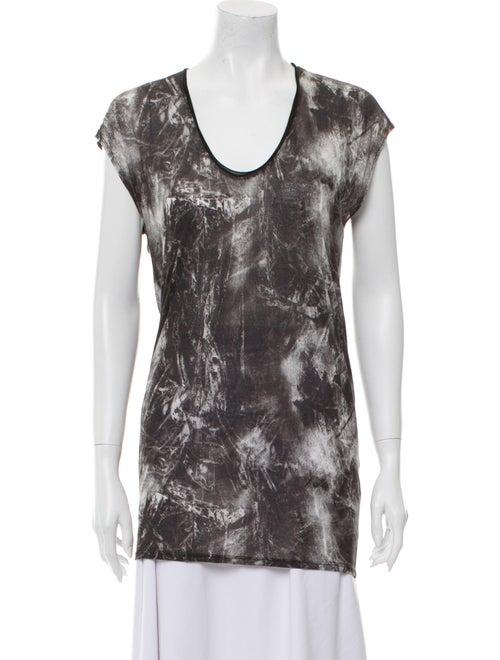 Helmut Lang Tie-Dye Print Scoop Neck T-Shirt