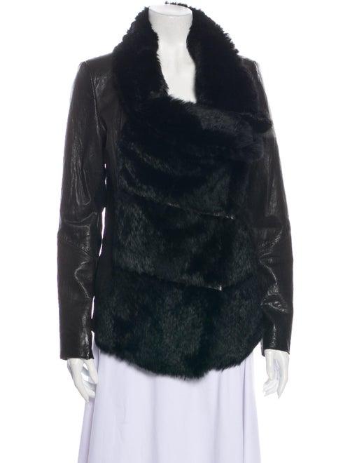 Helmut Lang Lamb Leather Fur Jacket Black